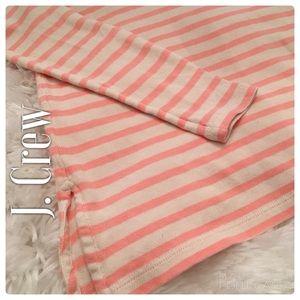 J. Crew Cream and Pink Striped Lightweight Sweater